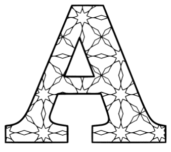 Free printable A - coloring letter. alphabet coloring letter coloring sheet with pattern for kids and adults stencil, thick pattern typeface bold download svg, png, pdf, jpg pattern.