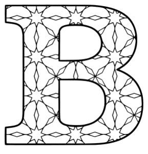 Free printable B - coloring letter. alphabet coloring letter coloring sheet with pattern for kids and adults stencil, thick pattern typeface bold download svg, png, pdf, jpg pattern.