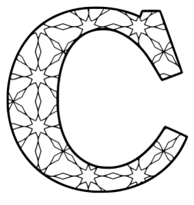 Free printable C - coloring letter. alphabet coloring letter coloring sheet with pattern for kids and adults stencil, thick pattern typeface bold download svg, png, pdf, jpg pattern.