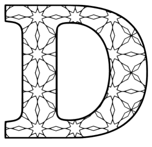 Free printable D - coloring letter. alphabet coloring letter coloring sheet with pattern for kids and adults stencil, thick pattern typeface bold download svg, png, pdf, jpg pattern.