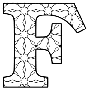 Free printable F - coloring letter. alphabet coloring letter coloring sheet with pattern for kids and adults stencil, thick pattern typeface bold download svg, png, pdf, jpg pattern.