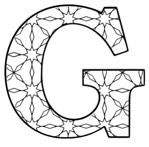 Free printable G - coloring letter. alphabet coloring letter coloring sheet with pattern for kids and adults stencil, thick pattern typeface bold download svg, png, pdf, jpg pattern.