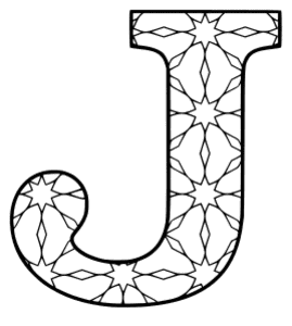 Free printable J - coloring letter. alphabet coloring letter coloring sheet with pattern for kids and adults stencil, thick pattern typeface bold download svg, png, pdf, jpg pattern.