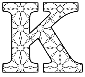 Free printable K - coloring letter. alphabet coloring letter coloring sheet with pattern for kids and adults stencil, thick pattern typeface bold download svg, png, pdf, jpg pattern.
