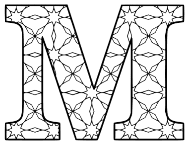 Free printable M - coloring letter. alphabet coloring letter coloring sheet with pattern for kids and adults stencil, thick pattern typeface bold download svg, png, pdf, jpg pattern.