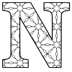 Free printable N - coloring letter. alphabet coloring letter coloring sheet with pattern for kids and adults stencil, thick pattern typeface bold download svg, png, pdf, jpg pattern.