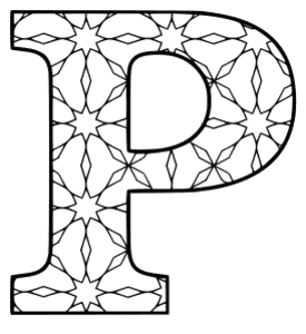Free printable P - coloring letter. alphabet coloring letter coloring sheet with pattern for kids and adults stencil, thick pattern typeface bold download svg, png, pdf, jpg pattern.