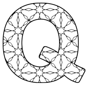 Free printable Q - coloring letter. alphabet coloring letter coloring sheet with pattern for kids and adults stencil, thick pattern typeface bold download svg, png, pdf, jpg pattern.