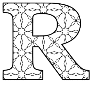 Free printable R - coloring letter. alphabet coloring letter coloring sheet with pattern for kids and adults stencil, thick pattern typeface bold download svg, png, pdf, jpg pattern.