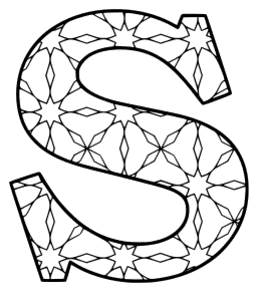 Free printable S - coloring letter. alphabet coloring letter coloring sheet with pattern for kids and adults stencil, thick pattern typeface bold download svg, png, pdf, jpg pattern.