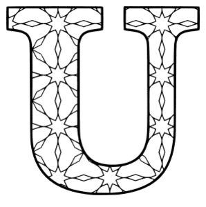 Free printable U - coloring letter. alphabet coloring letter coloring sheet with pattern for kids and adults stencil, thick pattern typeface bold download svg, png, pdf, jpg pattern.