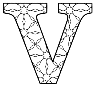 Free printable V - coloring letter. alphabet coloring letter coloring sheet with pattern for kids and adults stencil, thick pattern typeface bold download svg, png, pdf, jpg pattern.