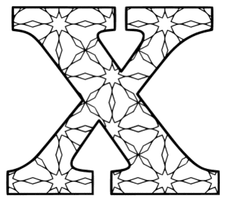Free printable X - coloring letter. alphabet coloring letter coloring sheet with pattern for kids and adults stencil, thick pattern typeface bold download svg, png, pdf, jpg pattern.