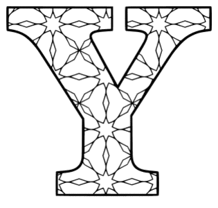 Free printable Y - coloring letter. alphabet coloring letter coloring sheet with pattern for kids and adults stencil, thick pattern typeface bold download svg, png, pdf, jpg pattern.