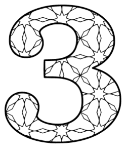 Free printable 3 - coloring stencil. alphabet coloring letter coloring sheet with pattern for kids and adults stencil, thick pattern typeface bold download svg, png, pdf, jpg pattern.