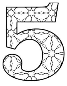Free printable 5 - coloring stencil. alphabet coloring letter coloring sheet with pattern for kids and adults stencil, thick pattern typeface bold download svg, png, pdf, jpg pattern.