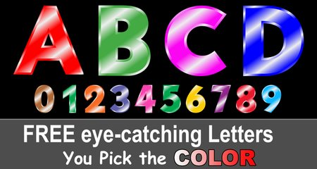 FREE printable alphabet letters and colorful clipart font designs.  Use these font letters, numbers, and alphabet patterns for signs, bulletin boards, decorations, etc.