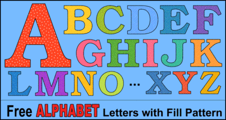 FREE diy alphabet letters and bold numbers, lettering stencils, thick downloadable, printable font with fill pattern, clip art.