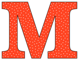 Free M - alphabet letter., font stencil, pattern, template, clipart, design, printable alphabet letters and numbers with dots, cricut, coloring page, monogram, a-z, vector, svg.