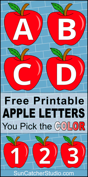 FREE printable DIY apple letter font, stencil, patterns, font letters, numbers, and alphabet patterns. This font style lettering is great coloring pages, signs, bulletin boards, decorations, etc.