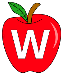 Free W  - apple clipart., red apple alphabet clipart, letter font stencil, letter font, numbers, pattern, template, clipart, printable alphabet letters and numbers, DIY, homemade, back to school, bulletin board, cricut, silhouette, coloring page, vector, svg.