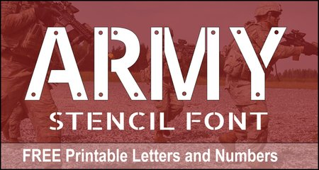FREE printable DIY army stencil font letters, numbers, and alphabet patterns. This military font style lettering is great for signs, bulletin boards, decorations, etc.