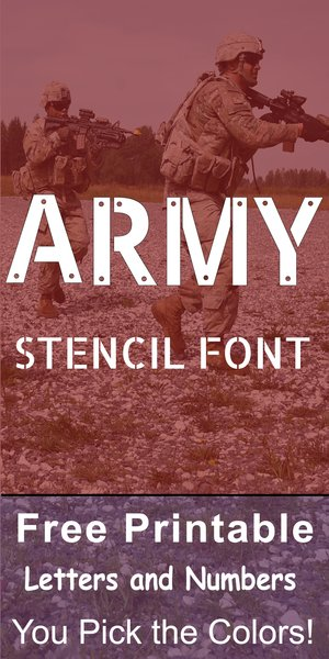 FREE printable army stencil font letters, numbers, and alphabet patterns. This military font style lettering is great for signs, bulletin boards, decorations, etc.