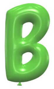B - Ballooon font. Free printable balloon font, lettering, alphabet, clipart, downloadable, letters and numbers, happy birthday, generator, 3d.