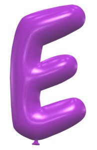 E - Balloon font. Free printable balloon font, lettering, alphabet, clipart, downloadable, letters and numbers, happy birthday, generator, 3d.