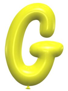G - Balloon font. Free printable balloon font, lettering, alphabet, clipart, downloadable, letters and numbers, happy birthday, generator, 3d.