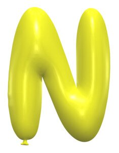 N - Balloon letter. Free printable balloon font, lettering, alphabet, clipart, downloadable, letters and numbers, happy birthday, generator, 3d.