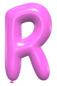 R - Balloon letter. Free printable balloon font, lettering, alphabet, clipart, downloadable, letters and numbers, happy birthday, generator, 3d.