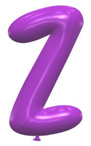 Z - Balloon lettering. Free printable balloon font, lettering, alphabet, clipart, downloadable, letters and numbers, happy birthday, generator, 3d.