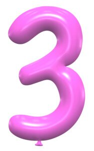 3 - balloon number. Free printable balloon font, lettering, alphabet, clipart, downloadable, letters and numbers, happy birthday, generator, 3d.