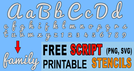 FREE bold SCRIPT letter stencils, font, thick number and alphabet downloadable and printable stencils and patterns.