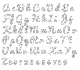Free printable A-z, 0-9 stencils. bold script letter stencil alphabet number large thick svg and png pattern.