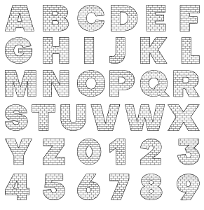 Free All letters., brick letter font stencil, letter font, numbers, pattern, template, clipart, printable alphabet letters and numbers, DIY, homemade, back to school, bulletin board, cricut, silhouette, coloring page, vector, svg.