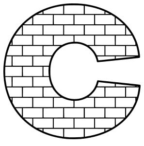 Free C - brick font., brick letter font stencil, letter font, numbers, pattern, template, clipart, printable alphabet letters and numbers, DIY, homemade, back to school, bulletin board, cricut, silhouette, coloring page, vector, svg.