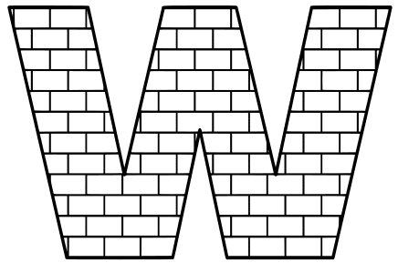 Free W  - brick letter., brick letter font stencil, letter font, numbers, pattern, template, clipart, printable alphabet letters and numbers, DIY, homemade, back to school, bulletin board, cricut, silhouette, coloring page, vector, svg.