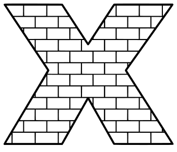 Free X  - brick letter., brick letter font stencil, letter font, numbers, pattern, template, clipart, printable alphabet letters and numbers, DIY, homemade, back to school, bulletin board, cricut, silhouette, coloring page, vector, svg.