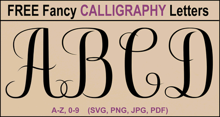 FREE printable calligraphy alphabet. Use these cursive capital letters, numbers, and font designs for weddings, monograms, anniversaries, decorations, diy crafts, etc.