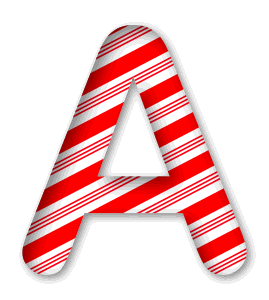 A - Candy cane font. 3D Christmas, font, free, peppermint, stripes, candy cane, printable alphabet, letter, number, ornament, holiday, decoration, pattern, template, clipart design, vector, svg.