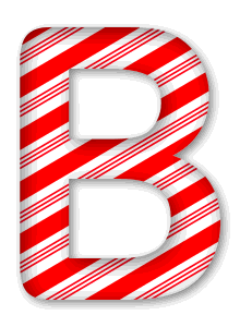 B - Candy cane font. 3D Christmas, font, free, peppermint, stripes, candy cane, printable alphabet, letter, number, ornament, holiday, decoration, pattern, template, clipart design, vector, svg.
