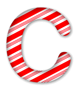 C - Candy cane font. 3D Christmas, font, free, peppermint, stripes, candy cane, printable alphabet, letter, number, ornament, holiday, decoration, pattern, template, clipart design, vector, svg.
