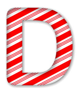 D - Candy cane font. 3D Christmas, font, free, peppermint, stripes, candy cane, printable alphabet, letter, number, ornament, holiday, decoration, pattern, template, clipart design, vector, svg.