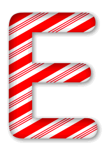 E - Candy cane font. 3D Christmas, font, free, peppermint, stripes, candy cane, printable alphabet, letter, number, ornament, holiday, decoration, pattern, template, clipart design, vector, svg.