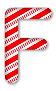 F - Candy cane font. 3D Christmas, font, free, peppermint, stripes, candy cane, printable alphabet, letter, number, ornament, holiday, decoration, pattern, template, clipart design, vector, svg.