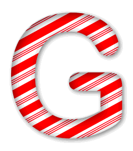 G - Candy cane font. 3D Christmas, font, free, peppermint, stripes, candy cane, printable alphabet, letter, number, ornament, holiday, decoration, pattern, template, clipart design, vector, svg.