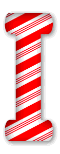 I - Candy cane letter. 3D Christmas, font, free, peppermint, stripes, candy cane, printable alphabet, letter, number, ornament, holiday, decoration, pattern, template, clipart design, vector, svg.