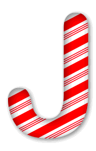 J - Candy cane letter. 3D Christmas, font, free, peppermint, stripes, candy cane, printable alphabet, letter, number, ornament, holiday, decoration, pattern, template, clipart design, vector, svg.